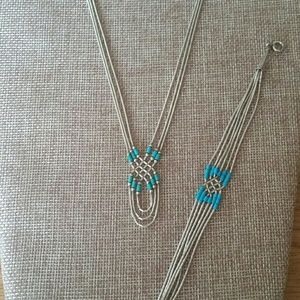 Jewelry - Vintage Sterling Liquid Silver/Turquoise Neckl